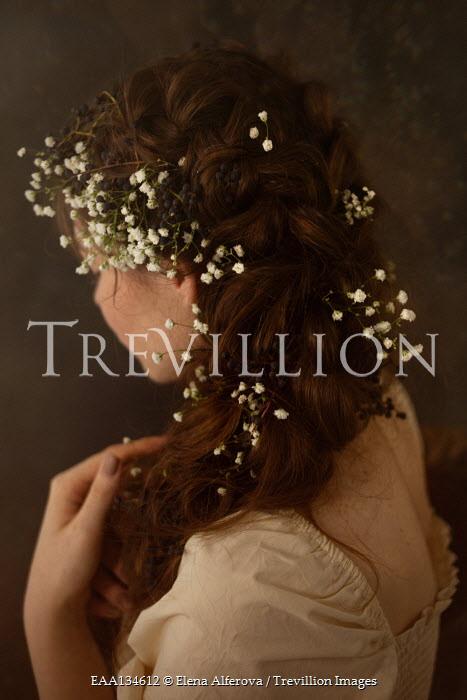 Elena Alferova BRUNETTE WOMAN WITH WHITE FLOWERS IN HAIR