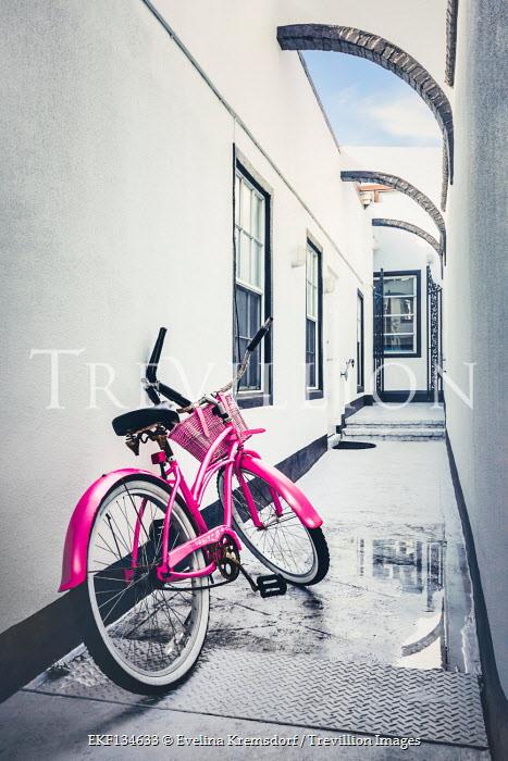 Evelina Kremsdorf PINK BICYCLE LEANING AGAINST WHITE HOUSE