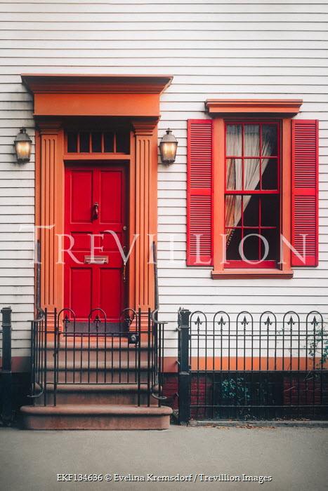 Evelina Kremsdorf WOODEN HOUSE WITH RED DOOR AND WINDOW
