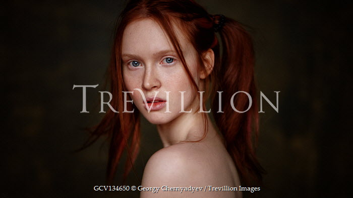 Georgy Chernyadyev SERIOUS GIRL WITH RED HAIR AND BARE SHOULDERS
