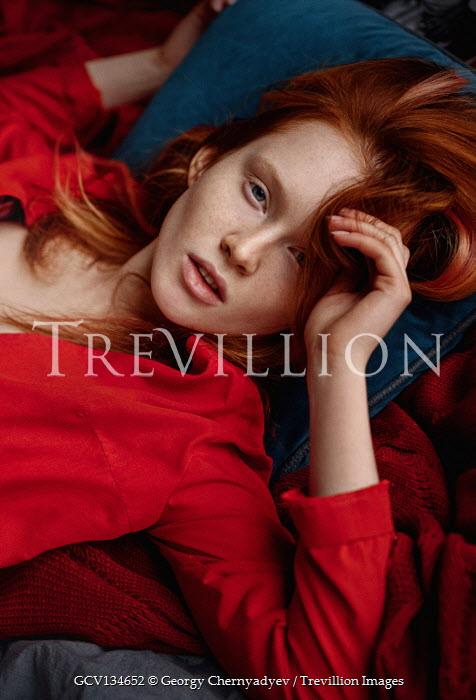 Georgy Chernyadyev GIRL WITH RED HAIR LYING INDOORS