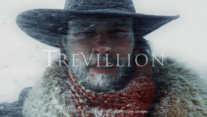 Kirill Sakryukin MAN WITH HAT AND FUR COAT IN BLIZZARD