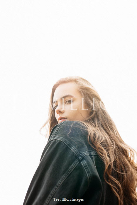 Shelley Richmond SERIOUS GIRL WITH LONG HAIR AND DENIM JACKET