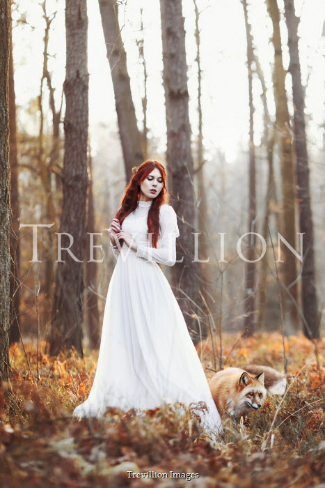 Anna Sychowicz WOMAN WITH RED HAIR AND FOX IN FOREST
