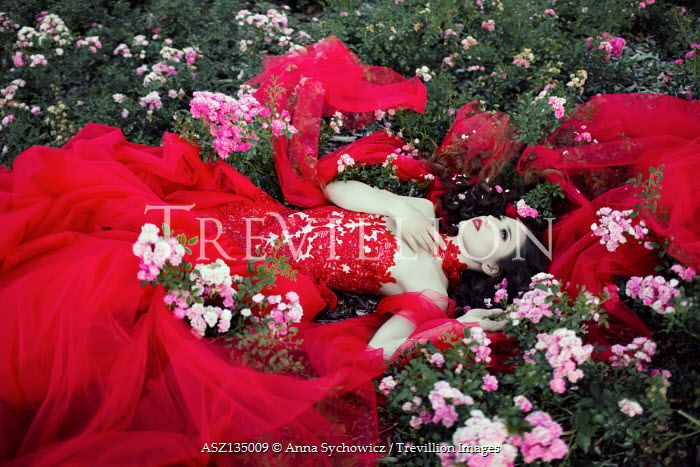 Anna Sychowicz WOMAN IN RED GOWN LYING IN FLOWERS