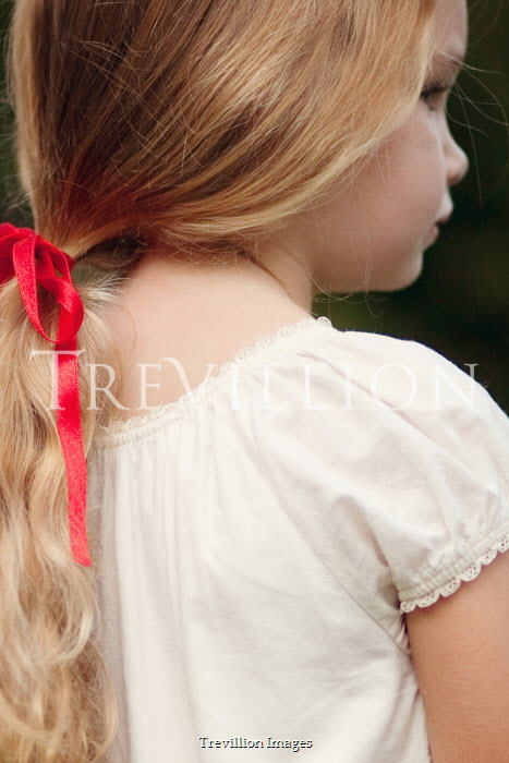 Susan Fox BLONDE LITTLE GIRL WITH RIBBON IN HAIR