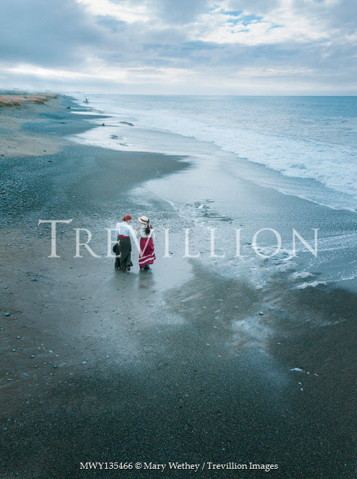 Mary Wethey TWO HISTORICAL WOMEN WALKING ON BEACH