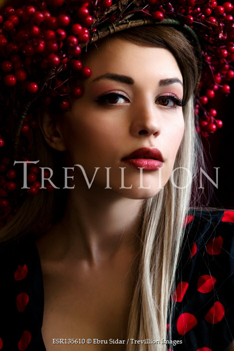 Ebru Sidar BLONDE GIRL WITH RED SPOTTED DRESS AND BERRIES
