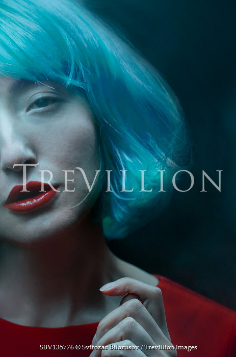 Svitozar Bilorusov WOMA WITH BLUE HAIR AND RED LIPS