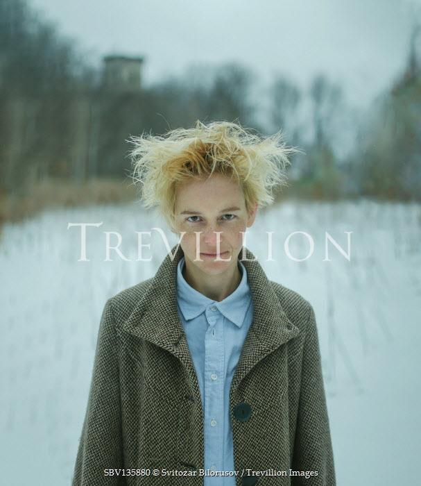 Svitozar Bilorusov GIRL WITH SHORT BLONDE HAIR IN SNOWY FIELD