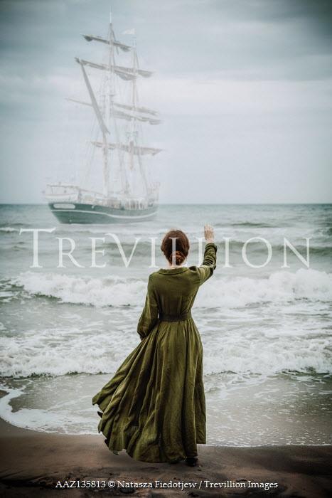 Natasza Fiedotjew historic woman waving to sailing ship in storm