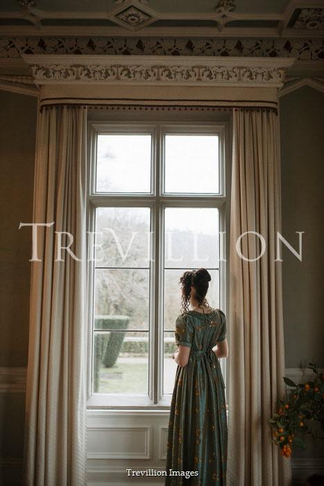 Shelley Richmond REGENCY WOMAN INDOORS WATCHING AT WINDOW