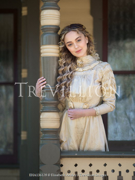 Elisabeth Ansley BLONDE HISTORICAL WOMAN STANDING ON VERANDA