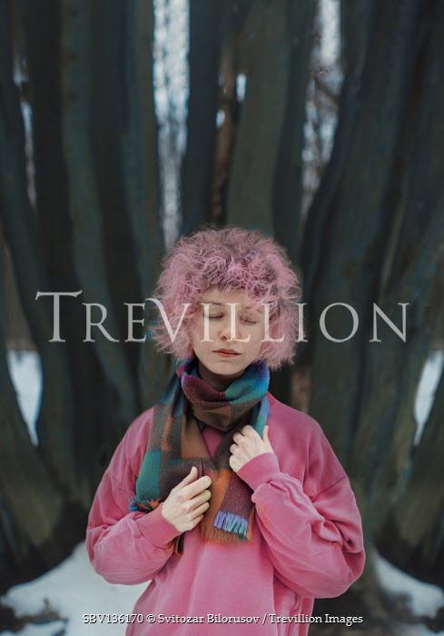 Svitozar Bilorusov WOMAN WITH PINK HAIR IN SNOWY FOREST