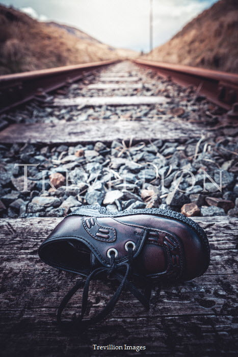 Marie Carr CHILD'S SHOE LYING ON RAILWAY TRACK