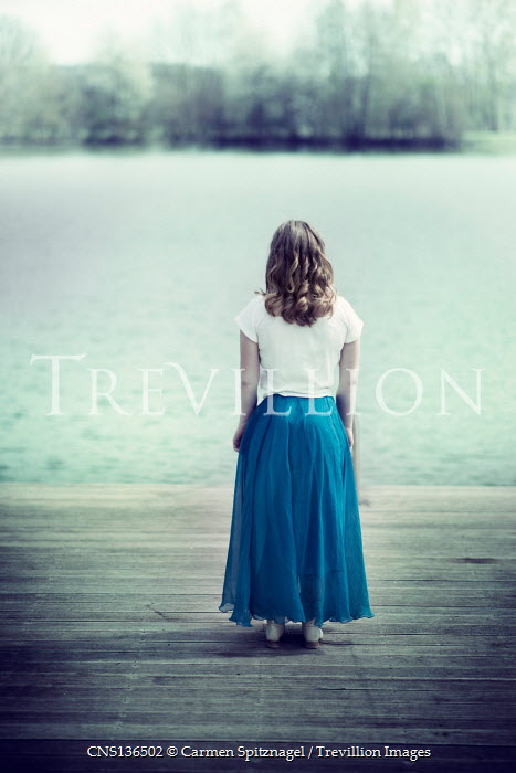 Carmen Spitznagel GIRL STANDING ON JETTY WATCHING RIVER