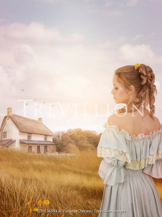 Victoria Davies BLONDE WOMAN IN FIELD WITH WHITE COTTAGE