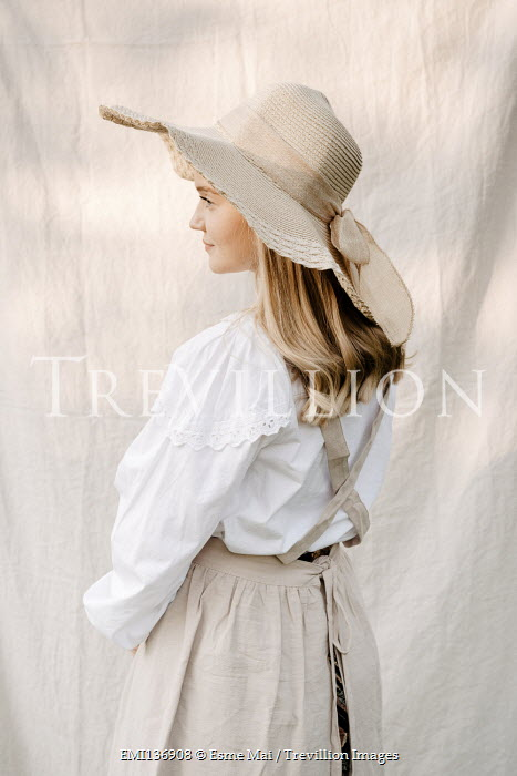 Esme Mai WOMAN IN PINAFORE DRESS AND HAT