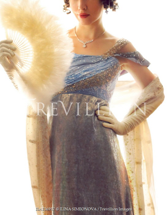 ILINA SIMEONOVA HISTORICAL WOMAN IN BALLGOWN WITH FEATHER FAN