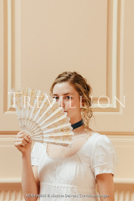 Matilda Delves REGENCY WOMAN IN WHITE WITH FAN INDOORS