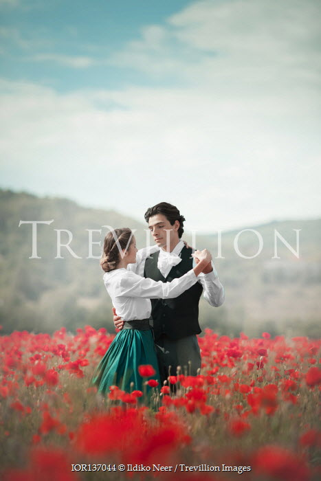 Ildiko Neer Historical couple dancing in poppy field