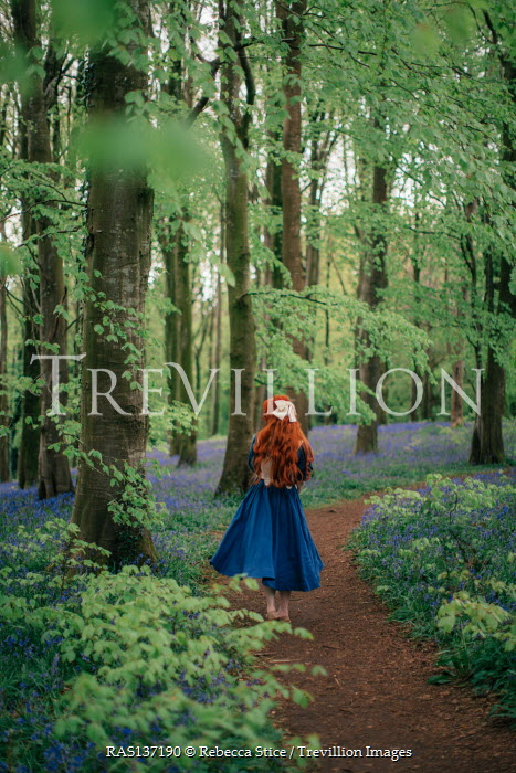 Rebecca Stice GIRL WITH LONG RED HAIR ON FOREST PATH