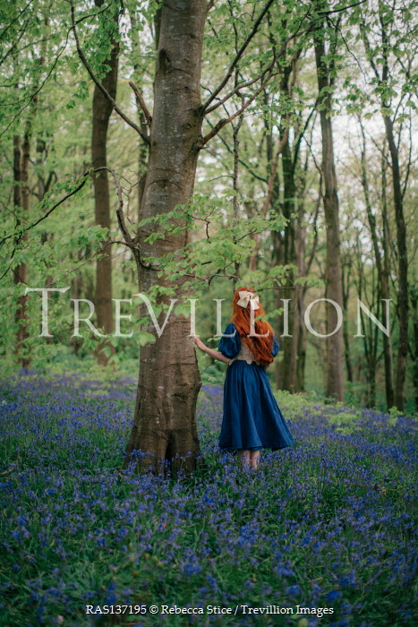 Rebecca Stice GIRL WITH LONG RED HAIR IN FOREST WITH BLUEBELLS