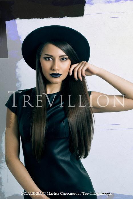 Marina Chebanova WOMAN IN BLACK LEATHER DRESS AND HAT