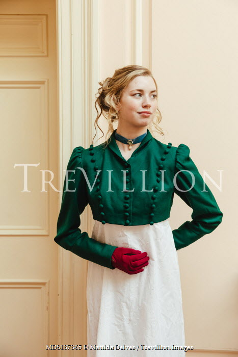 Matilda Delves BLONDE HISTORICAL WOMAN WITH RED GLOVES INDOORS