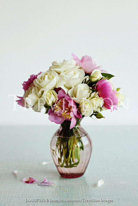 Jasenka Arbanas WHITE AND PINK FLOWERS IN GLASS VASE