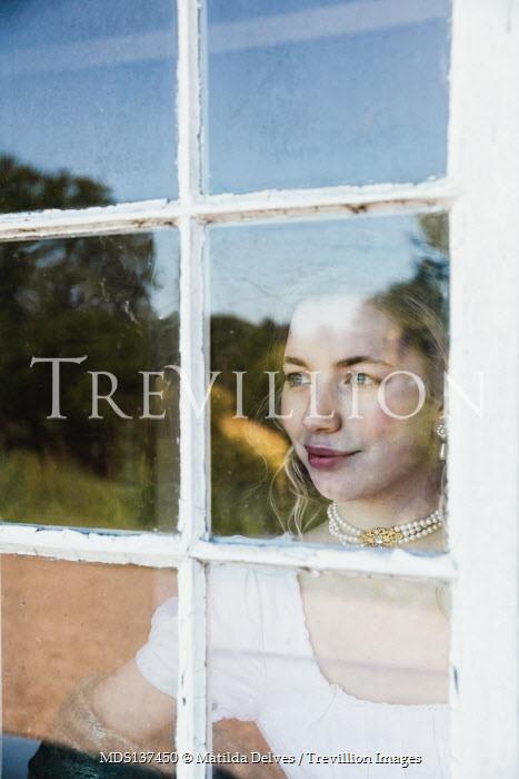Matilda Delves REGENCY WOMAN INDOORS WATCHING AT WINDOW