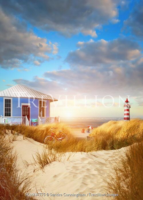 Sandra Cunningham BEACH HOUSE IN SAND DUNES WITH LIGHTHOUSE