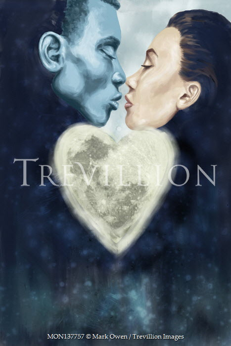 Mark Owen KISSING COUPLE WITH HEART-SHAPED PLANET