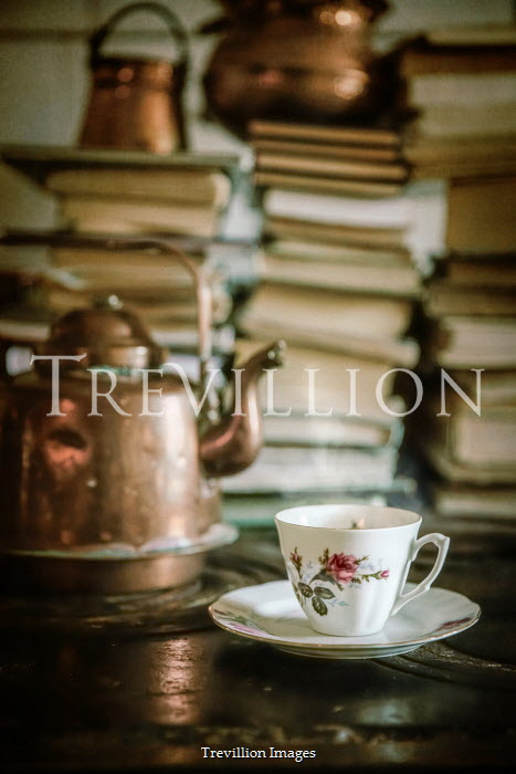 Natasza Fiedotjew TEACUP AND KETTLE WITH PILES OF BOOKS