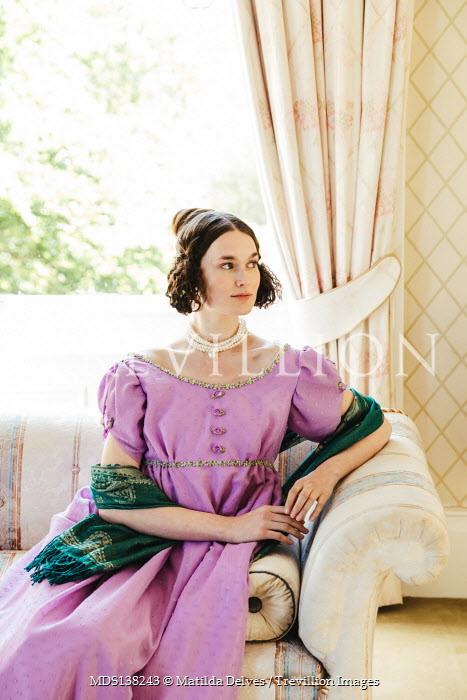 Matilda Delves BRUNETTE REGENCY WOMAN SITTING INDOORS WITH WINDOW