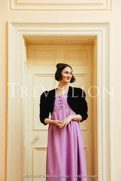 Matilda Delves SMILING BRUNETTE REGENCY WOMAN INSIDE BY DOORWAY