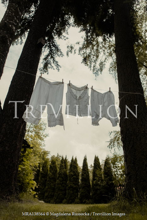 Magdalena Russocka vintage underwear drying on clothes line in garden