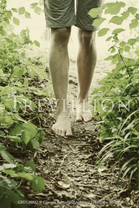 Giovan Battista D'Achille BAREFOOT MALE IN SHORTS WALKING ON COUNTRY PATH