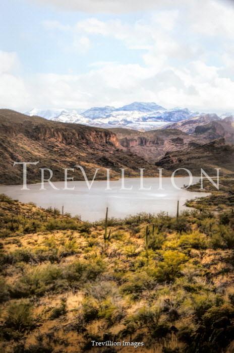Jill Battaglia LAKE WITH DESERT AND SNOWY MOUNTAINS