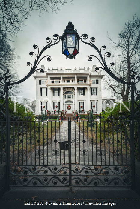 Evelina Kremsdorf LARGE GRAND WHITE HOUSE WITH GATES