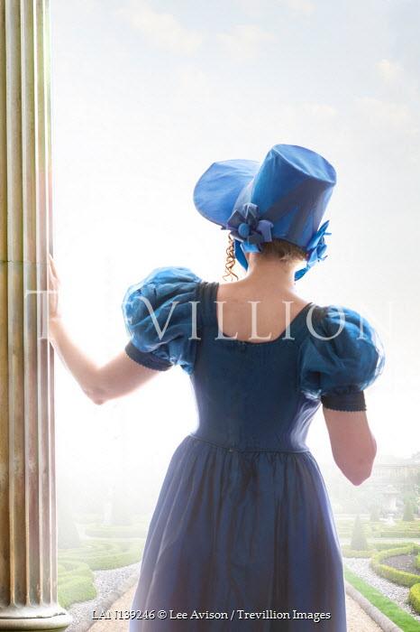 Lee Avison regency woman with bonnet from behind