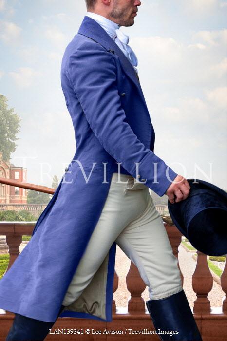 Lee Avison confident regency gentleman striding across camera