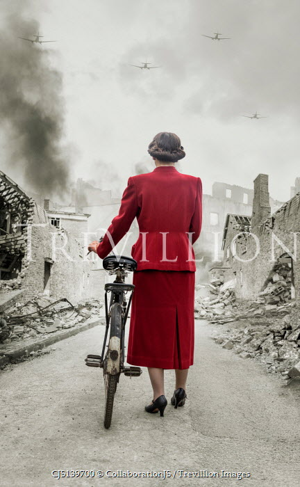 CollaborationJS RETRO WOMAN WITH BICYCLE IN BOMBED STREET