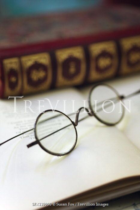 Susan Fox ANTIQUE GLASSES LYING ON OPEN BOOK