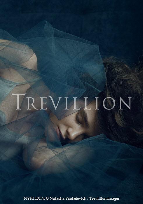 Natasha Yankelevich WOMAN LYING SLEEPING WITH BLUE VEIL