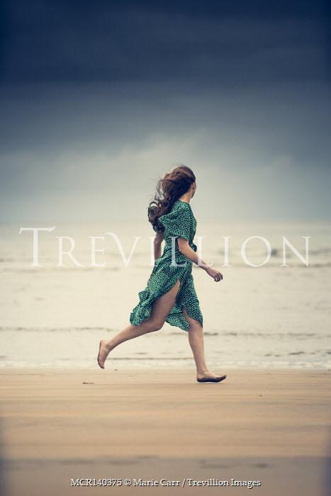 Marie Carr BAREFOOT WOMAN IN DRESS RUNNING ON BEACH