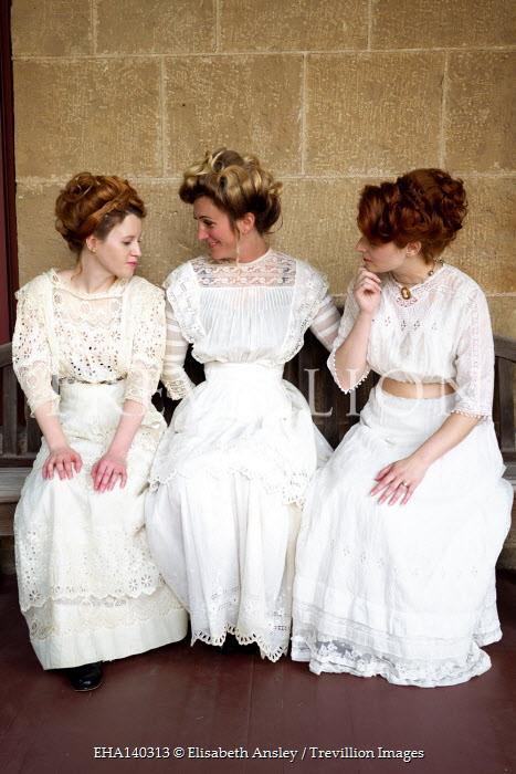Elisabeth Ansley THREE HISTORICAL WOMEN IN WHITE SITTING ON BENCH