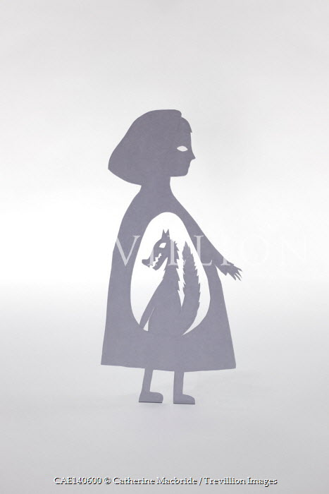 Catherine Macbride SILHOUETTE OF GIRL WITH WOLF
