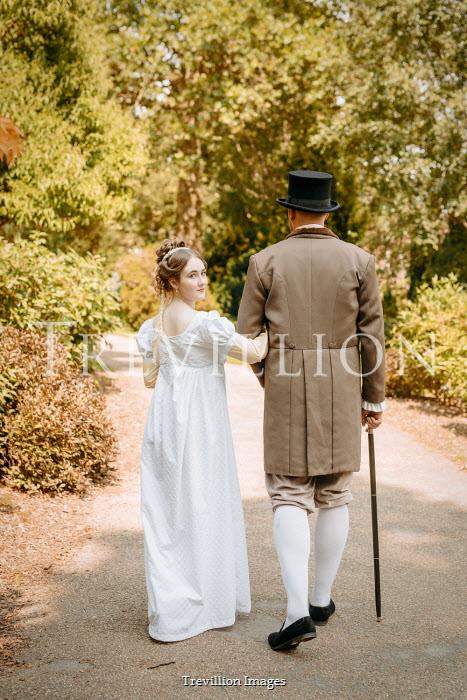 Shelley Richmond REGENCY COUPLE ARM IN ARM ON GARDEN PATH