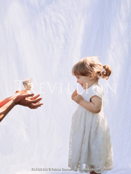 Felicia Simion LITTLE GIRL LAUGHING AT BIRD IN ADULT HANDS
